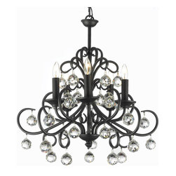 """gallery - Versailles Wrought Iron and Crystal-Light chandelier - Wrought Iron chandelier. A Great European Tradition. Nothing is quite as elegant as the fine chandeliers that gave sparkle to brilliant evenings at palaces and manor houses across Europe. This beautiful chandelier from the Versailles Collection has 5 Lights. The frame is Wrought Iron, adding the finishing touch to a wonderful fixture. The timeless elegance of this chandelier is sure to lend a special atmosphere anywhere its placed! W. 20"""" H. 22"""". 5 Lights"""