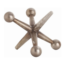 Arteriors - Jack Sculpture - Large, Antique Nickel - This playful iron sculpture, available in an Antique Nickel or Antique Bronze finish, captures the essence of the game.  The large size also works well as a door stop.