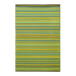 None - Prater Mills Indoor/Outdoor Reversible Yellow/ Green Rug - Complement your home with this colorful indoor/outdoor rug from Prater Mills. This reversible rug features a colorful striped patter in yellow and green. Made from 100 percent recycled plastic,this rug will not be bothered by moisture or mildew.