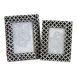 iMax - Lizzie Bone Frames, Set of 2 - A set of two photo frames made with bone inlay make the perfect desk, shelf or vanity accessory. White bone inlay with black cross pattern gives these frames a simple decorative appeal. For a coordinated look, display with the Lizzie bone inlay boxes.