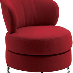 Coaster - Swivel Chair, Red - Create a modern room with one of these swivel accent chairs available in white leather-like vinyl or red linen-like fabric. These chairs provide plenty of seating area along with a padded curved back for support and comfort. Round base is finished in chrome.