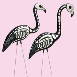Skel-a-Flamingo Halloween Accessories - Neighbors are sure to laugh when they see a flock of these skeletal flamingos on your front lawn.