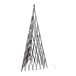 "Master Garden Products - Willow Expandable Teepee, 14""L x 60""H - Our self standing, expandable, three sided willow teepee is constructed from willow saplings nailed together on a diagonal portion of the structure. Our trellis is sturdy enough for tomatoes and adds a rustic look to your garden. The three-sided construction lets you place the trellis over plants or you can grow them around its perimeter."