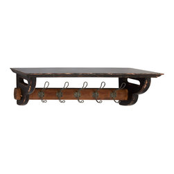 Most Useful Wood Metal Wall Shelf Hook - Description:
