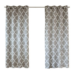 """Best Home Fashion - Velvet Moroccan Print Grommet Top Curtain Pair 84""""L, Grey - If you're going for a fun, sophisticated look these printed velvet curtains are just what you need. Add a stylish touch to your home décor with our moroccan design on lustrous velvet."""
