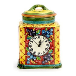 Artistica - Hand Made in Italy - Novembre: Clock-Canister Fully Decorated (Large) - Hand Painted in Tuscany Italy!