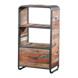 Artemano - Industrial Style Cabinet Made of Recycled Boat Wood - This freestanding bookcase is built on a sleek metal frame and made of salvaged wood once used in the construction of Southeast Asian fishing boats. Each colorful strip of wood used for this shelving unit has unique properties that we are careful to preserve when restoring the recycled wood, like any holes, dents or cracks that the piece may have. Perfect for the home office or dining room, this cabinet offers two roomy shelves and one spacious pullout drawer for some hidden storage space as well!