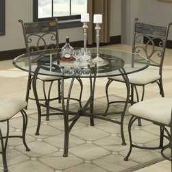 Coaster - 120831 Beveled 45in. Glass Top Dining Table - Transform your kitchen or dining room with the distinctive round glass dining table and chairs set or round glass counter height and stools set. A metal base features intricate details that contrasts beautifully with the creamy neutral upholstery on the coordinating chairs. Place in your eat-in kitchen or dining room for distinctive style that can be dressed up or dressed down to suit your needs.