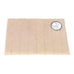 """Living Healthy Products - Microfiber Absorbing Bathroom Mat 20x30 Horizontal Line Pattern, Tan - Step out of the Shower and into Plush Luxury with this quilted memory foam bathroom mat. This mat has a stable non slip latex backing and is covered with a silky soft microfiber. The mat absorbs moisture as you stand in comfort and protects you feet from the cold tile floors. Available in 2 Sizes : 17"""" x 24"""" or 20"""" x 30"""""""
