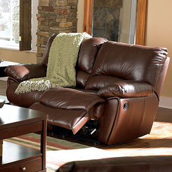"""Coaster - Clifford Motion Loveseat, Dark Brown - This durable and comfortable motion set features padded arms, recliners on the sofa ends and love seat. Kidney support backs for added comfort. Also available is a matching recliner chair. Complete this casual look in your room with this lift-top occasional group (#700247-700249).; Casual Style; Finish/Color: Dark Brown; Upholstery: Top grain leather match; Dimensions: 65""""L x 39""""W x 38""""H"""