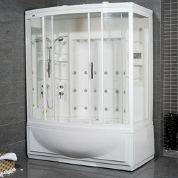 Atlas International Inc - Steam Shower with Whirlpool Bathtub (Right) - Ariel - These fully loaded steam showers include a whirlpool bathtub, massage jets, and built in FM radio for easy listening s to help increase your therapeutic experience. This steam shower is the right sided version