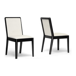 """Wholesale Interiors - Maeve Dark Brown and Cream Modern Dining Chairs, Set of 2 - From quick weeknight meals to holiday dinner parties, afternoon snacks to late night cocktails, the Maeve Designer Dining Chair does it all with style. Each chair features a solid rubberwood frame with a black/brown wenge finish. Foam-padded and upholstered with soft cream fabric, these chairs are comfortable to boot. This Malaysian creation requires assembly. We recommend the chairs are spot cleaned as needed. Seat dimensions: 18.5"""" H x 18.25"""" W x 17"""" D. Chair dimensions: 34.5"""" H x 18.25"""" W x 22.25"""" D."""
