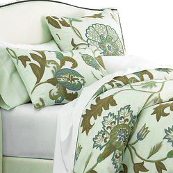 Crewel Pillow King Shams Giverny Green Tones on Ivory Cotton Duck (20x36)