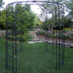 Oakland Living - Oakland Living 9 x 9-ft. Iron Garden Gazebo - 5017-HB - Shop for Gazebos from Hayneedle.com! Intricately designed the Oakland Living 9 x 9-ft Iron Garden Gazebo will enhance any yard or garden. Constructed of tubular iron this gazebo is both durable and decorative. The intricate scroll work and attractive roof design are sure to make this romantic-style gazebo a focal point in any backyard. Note: Image shows leaves and vines as an example of how you can display your arbor; these are only for display purposes. Arbor comes with attached iron scrolls only.