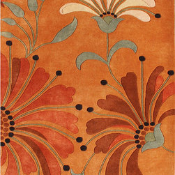 Alliyah Rugs - Handmade Tufted Eastern Orange Wool Rug (8' x 10') - This handmade Tufted Eastern rug features New Zealand wool construction and a plush 0.7-inch pile. This orange rug also features a beautiful floral pattern with accents of burgundy, dark orange and green spruce.