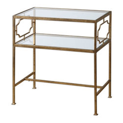 Uttermost - Uttermost 24335  Genell Side Table - An upscale, traditional design in gold-leafed iron with moderate antiquing. top and gallery shelf are clear, tempered glass.