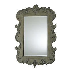Cyan Design - Cyan Design Vintage French Rectangular Mirror X-86910 - Flourish detailing adorns the edges of this Cyan Design rectangular mirror. From the Vintage French Collection, this elegantly detailed mirror features a heavy beveled edge and iron frame. The frame has been finished in an Oyster Silver hue, which plays off the European elegance.