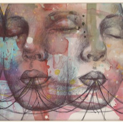"""""""Sisters, Painting"""" - """"this piece is part of my experimental pen and ink series. It features lush watercolor and gold inks with the pen and ink drawing on top  This piece has been matted with white to 11x14"""""""".  My work has been featured in national gallery exhibitions you can purchase my work with confidence.  """""""