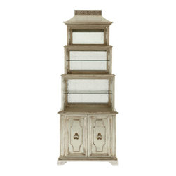 """Pagoda"" Etagere - Four-stepped, graduated etagere offers both lighted open display space and closed storage space. From the John-Richard Collection."