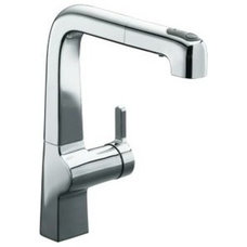 Kohler K-6331-CP Polished Chrome Single Handle Pullout Spray Kitchen Faucet from
