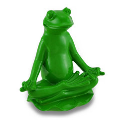 Zeckos - Green Yoga Frog Ardha Padmasana Meditation Pose - This bright glossy green frog calmly sits in ardha padmasana or half-lotus pose upon a lotus flower, and adds a wonderful meditative accent to any shelf, tabletop or counter surface in your home or at the office. Cast in resin, this little yoga buddy measures 5.5 inches high, 4.5 inches long, and 3 inches wide (14 x 11 x 8 cm). Place this adorable green yogi on any surface and feel his positive vibrations fill the room. Namaste.