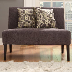 Inspire Q - INSPIRE Q Wicker Park Dark Grey Chenille Armless Loveseat - The Kayla Armless Loveseat Collection is covered in a fun and elegant print upholstery that will brighten up the look of your living room. The simple color scheme of the piece makes it an easy addition to any room in your home.