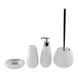 Gedy - 4 Piece White Stone Bathroom Accessory Set - Accessory set from the Gedy Fiona collection is made of white stone.