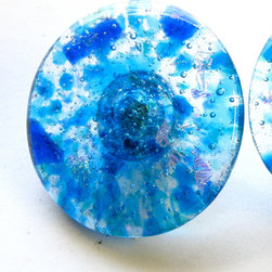 """2"""" round """"Lake Michigan"""" blue fused glass closet door pull by Torch Lake Glass - Lake Michigan handmade fused glass knobs, handles, pulls and tiles.  """"Lake Michigan"""" is a custom blend of hand cut glass in multiple shades of blue - aqua, sky blue, cobalt, sapphire, topaz - plus iridescent clear that is used go create unique cabinet hardware.  Lake Michigan is available as a 1.25"""" round; 2"""" round; 1.5"""" square; 3"""" center handle or accent tiles in standard or custom sizes."""
