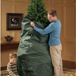 """Exposures - Flexible Festive Tree Storage - Durable yet lightweight, this cover makes convenient storage of a fully assembled Christmas tree both possible and practical. Accommodates a 7 1/2' tree with cinch closures at top and bottom. Easy-cleaning evergreen microfiber is an excellent value. Buckle side closures. 36"""" diameter x 100""""."""
