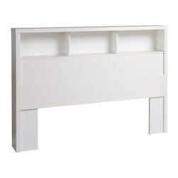 Prepac - Headboard - Finished in durable pure white laminate. Features 3 storage shelves. Freestanding design - Compatible with double/queen size beds. Constructed from CARB-compliant composite wood. 5-year manufacturer's limited parts warranty. Ships Ready to Assemble, includes an instruction booklet for easy assembly. 68 in. W x 8.75 in. D x 47 in. H Inspired by chic cosmopolitan design, the Calla Collection blends modern lines and elegant details. The Calla Headboard features a bold thick top, functional storage and pure white laminate finish. This free-standing headboard works well with a variety of double/queen size bed frames and decorating styles.