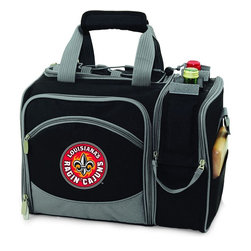 Picnic Time - University of Louisiana Lafayette Malibu Picnic Pack in Black - Insulated pack with picnic service for 2 made of 600D polyester canvas. The elegant and unique Malibu shoulder pack is perfect for picnics, concerts, or travel. This tote has an integrated wine storage section and a spacious food storage section with removable liner. The adjustable shoulder strap makes it easy to carry. A wonderful gift idea.; College Name: University of Louisiana Lafayette; Mascot: Ragin Cajuns; Decoration: Embroidered; Includes: 2 Wine glasses (acrylic), 2 Napkins (cotton 14 x 14 in.), 1 Corkscrew (waiter style stainless steel), 1 Cutting board (wood 6 x 6 in.), 1 Cheese knife (stainless steel w/wood handle), 2 Plates (melamine 9 in.), 2 Ea. Knives forks & spoons (stainless steel), 2 Napkins (cotton 14 x 14 in.)