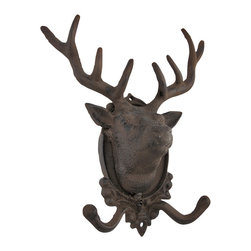 Cast Iron Deer Wall Mounted Coat Hooks - These cast iron wall hooks are decorative and functional, adding a rustic accent to your home, porch, or patio. This piece measures 10 1/2 inches tall, 9 inches wide, 4 1/2 inches deep, has 2 hooks on the bottom, and has pre-drilled holes in the top and bottom to make it easy to mount to the wall. These hooks are great for hanging coats, hats, purses, or dog leashes, and are sure to be admired.