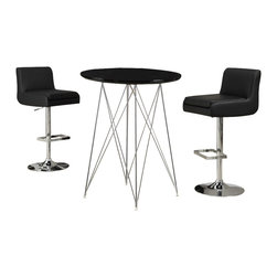 "Monarch Specialties - Monarch Specialties 3 Piece 36 Inch Round Bar Table Set w/ Armless Swivel Barsto - Create a trendy contemporary look with this glossy black 36"" diameter bar table. This piece features sleek chrome metal legs and a smooth surface ideal for drinks and tapas. This table is great for entertaining guest especially in smaller spaces. What's included: Bar Table (1), Barstool (2)."