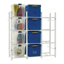 Bin Warehouse - Bin Warehouse 12 Tote Edition (32 Gallon) - The Bin Warehouse 12-unit storage system is designed to hold contents up to approximately 1,200 pounds. Bin Warehouse's unique design allows storage bins and totes to slide in and out with ease for quick accessibility. The unit can also be attached to the wall for additional stability and is easily assembled with just a screwdriver. Also included are 12 labels to help identify a plastic container's contents.