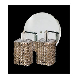 Elegant Lighting - Mini Golden Teak Crystal Sconce w 2 Lights in Chrome (Strass Swarovski) - Choose Crystal: Strass Swarovski. Bulbs not included. Crystal Color: Golden Teak (Smoky). Chrome finish. Number of Bulbs: 2. Bulb Type: GU10. Bulb Wattage: 55. Max Wattage: 110. Voltage: 110V-125V. Assembly required. Meets UL & ULC Standards: Yes. 9 in. D x 13.5 in. H (6lbs.)Description of Crystal trim:Royal Cut, a combination of high quality lead free machine cut and machine polished crystals & full-lead machined-cut crystals..SPECTRA Swarovski, this breed of crystal offers maximum optical quality and radiance. Machined cut and polished, a Swarovski technician¢s strict production demands are applied to this lead free, high quality crystal.Strass Swarovski is an exercise in technical perfection, Swarovski ELEMENTS crystal meets all standards of perfection. It is original, flawless and brilliant, possessing lead oxide in excess of 39%. Made in Austria, each facet is perfectly cut and polished by machine to maintain optical purity and consistency. An invisible coating is applied at the end of the process to make the crystal easier to clean. While available in clear it can be specially ordered in a variety of colors.Not all trims are available on all models.