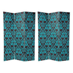 "Oriental Furniture - 6 ft. Tall Double Sided Damask Room Divider - This simple, elegant three panel room divider is part of our large collection of printed canvas designs, one of several with a classic elaborated ""fleur de lis"" like medallion pattern wall paper print reproduced on both the front and back. Cool pastel green designs against the warm Earth tone brown background create a lovely contrast, great for traditional and formal decorating as well as more eclectic contemporary and modern home decor."