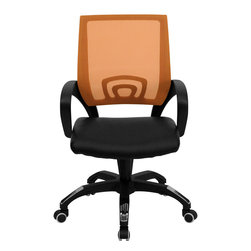 Flash Furniture - Mid-Back Orange Mesh Computer Chair with Black Leather Seat - For a contemporary and stylish mesh computer chair for your home or officethere's no need to look any further. This ergonomic task chair with mesh back from Flash Furniture will provide a comfortable and functional addition to any setting. Featuring a cool mesh back, leather seat, and a designer base, this computer chair will provide all the necessities for a home or office desk chair with a few extra features.