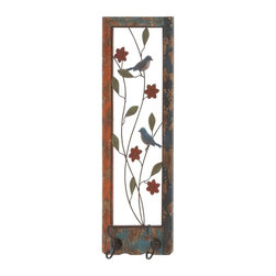 "Benzara - Wood Metal Wall Hook with Birds and Flowers Engraving - Wood Metal Wall Hook with Birds and Flowers Engraving. This wood metal wall hook combines both functionality and design to give your interiors a classic vintage look. The wood metal wall hook comes in dimensions of 10""W x 3""D x 29""H . Some assembly may be required."
