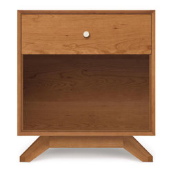 Copeland Furniture - Copeland Furniture Astrid 1 Drawer Nightstand 2-AST-10-03 - Astrid 1 drawer nightstand is a convenient bedside table that has the same dynamic splayed legs as its larger companion, the Astrid collection. It also includes a single drawer and open shelf for extra storage in the bedroom.