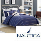Nautica - Nautica Winston Cotton Duvet Cover (Shams Sold Separately) - This warm cotton duvet cover is made of 100 percent cotton that provides maximum comfort. It comes in your choice of two color patterns accentuated with white stripes. You can put the material in the washing machine for easy cleaning.