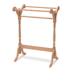 None - Unfinished Parawood Quilt Rack - Hang your quilt securely from this wooden unit,crafted of solid parawood. This piece is unfinished for easy customization,whether you choose to paint it,stain it,or showcase the natural wood grain on its own.