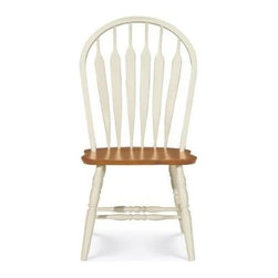 International Concepts - Windsor Steambent Arrowback Chair - Enjoy the added support of arrowback slats with this classically apportioned chair. A welcome alternative to regular design ideas, the chair boasts turned, ornamental legs and an elegant profile. Wooden construction is completed with a heritage pearl and oak finish. Delicately carved ornamentation on legs. As elegant as it is functional. Made of Solid Parawood. No assembly required. 20.75 in. W x 21.5 in. D x 41.5 in. H (15 lbs.). Seat height: 17.25 in.