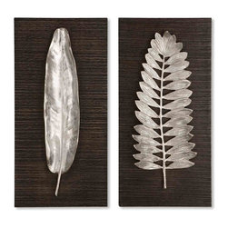 Uttermost - Silver Leaf Wall Art Plaques, Set of Two on Black Wood - This  fabulous  wall  d?cor  set  features  silver  leaves  finished  in  brushed  aluminum  against  a  riged,  bark-like  wood  backing  painted  in  ebony  black.  Set  includes  two  plaques.  The  unique  design  contrasts  the  long,  slim  design  of  a  slender  leaf  on  one  plaque  with  a  more  treelike  leaf  structure  on  the  other  plaque.