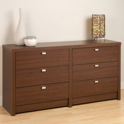 Series 9 Designer 6 Drawer Dresser - Medium Brown Walnut - When the clean lines of modern design are on display with the Series 9 Designer 6 Drawer Dresser - Medium Brown Walnut you've got a piece that can really change a room. This piece starts with a frame of sturdy composite wood that's covered with an exterior laminate that gives it the look and feel of walnut. Each of the six deep drawers will slide smoothly on metal guides while safety-stops will keep them being pulled out. Brushed nickel pulls accent the wood-tones of the finish while solid wood with a lacquered finish is used to craft the visible sides of each drawer.About Prepac ManufacturingPrepac is a successful designer and manufacturer of functional and stylish RTA (ready to assemble) home furniture. They have been manufacturing state-of-the-art home furnishings and storage products in the heart of the forest-rich West Coast since 1979.To ensure that customers receive the highest quality products, Prepac's design, engineering, production, testing and packaging are all performed in-house. Each component of every product is carefully engineered to be produced with minimal handling, without compromising quality, function and value. Prepac's state-of-the-art materials management system tracks every component from cutting through to packaged goods, inventory support, and fulfillment to final delivery.Most of Prepac's RTA products are made from a combination of engineered woods. Engineered Wood is a mixture of high quality hard and soft wood materials, which generally come from the surplus of original lumber processing. These materials are bonded together with a synthetic resin, in a process under high heat and pressure to make a very stable, environmentally friendly product. The result is dense, strong panels, which are then laminated with durable, attractive finishes.