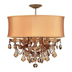 Crystorama - Crystorama 4415-AB-SHG-GTM Brentwood Chandelier - This isn't your Grandmother's crystal. The Brentwood Collection from Crystorama offers a nice mix of traditional lighting designs with large tailored encompassing shades. Adding either the Harvest Gold or the Antique White shade to these best selling skus opens the door to possibilities for these designer friendly chandeliers. The Brentwood Collection has a touch of design flair that will work for your traditional or transitional home.