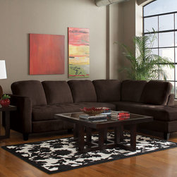 Coaster - Walker Chocolate Velvet Sectional - Enjoy both comfort and style with this simple sectional in chocolate. Draped in ultra soft textured padded velvet, our Walker collection is perfect for any living room or family room. Featuring tufted seating, sturdy arms, solid wood legs and pocket coil seating. Finish this room ensemble with a complementary occasional table set (#701767-701768) and table lamp (#901177).