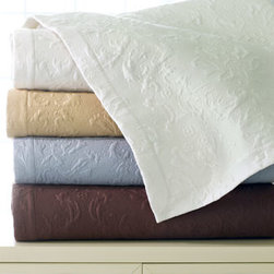 SFERRA - SFERRA Full/Queen Quilt Set - When it comes to these gorgeous bed linens, considering all your options might take a while. The damask matelasse quilt sets come in four splendid colors (choose blue, chocolate, gold, or ivory below), plus there are lovely embroidered sheets and a host...