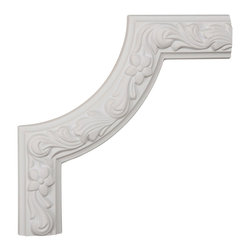 """Ekena Millwork - 10""""W x 10""""H x 7/8""""P Sussex Floral Panel Moulding Corner - 10""""W x 10""""H x 7/8""""P Sussex Floral Panel Moulding Corner. Our beautiful panel moulding and corners add a decorative, historic, feel to walls, ceilings, and furniture pieces. They are made from a high density urethane which gives each piece the unique details that mimic that of traditional plaster and wood designs, but at a fraction of the weight. This means a simple and easy installation for you. The best part is you can make your own shapes and sizes by simply cutting the moulding piece down to size, and then butting them up to the decorative corners. These are also commonly used for an inexpensive wainscot look."""