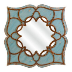 Blue Bohemian Wall Mirror - *Inspired by the east, the Candice mirror's dramatic design and shade of blue gives your room a Bohemian flavor.