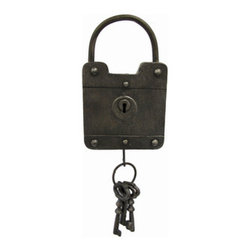 Antique Decorative Square Padlock and Cast Iron Keys Wall Hanging - Add a unique accent to your home decor with this metal padlock and keys wall hanging. This piece is made of metal and has an antique cast iron finish, with 3 cast iron skeleton keys hanging from the bottom. It measures approximately 15 inches long from the top to the bottom of the keys, is 5 1/4 inches wide, and 1 inch deep. It easily mounts to the wall with a single nail or screw by the hanger on the back, and looks great in homes, restaurants, bars, or offices.